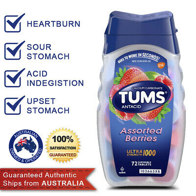 TUMS Antacid Chewable 72 Tablets ULTRA Stregth Assorted Berries Heartburn Relief