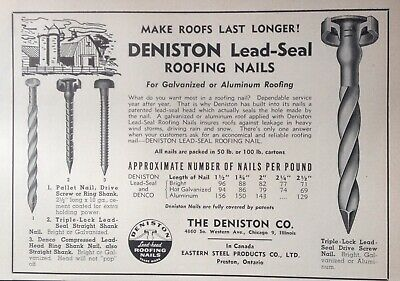 1956 Ad(G14)~The Deniston Co. Chicago. Deniston Lead-Seal Roofing Nails