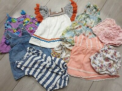 🌴Mainy Next 3-6 Baby Girl Bundle Tops Rompers Dresses Exc Con Sandals BNWT