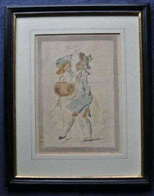 Fine Early 18th century watercolour sketch of Regency 'Fop' with Lady Companion
