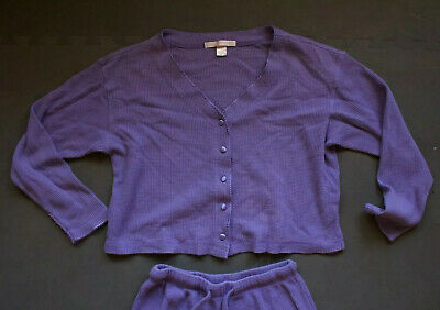 Women's Victoria Secret Pants Shirt PJs Pajamas Set Sz S Lavender Thermal Waffle