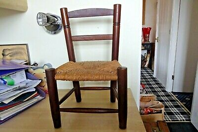 Lovely Antique Early 20th Century  Mahogany Child's Chair  Doll Teddy Bear Prop