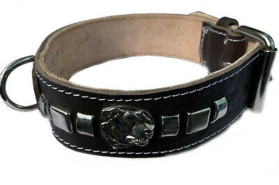 2 Inch Wide Black Leather Dog Collar with Decorative Design and Staffy Badge