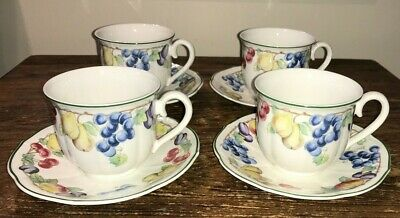 Villeroy & Boch Germany Melina #1748 Cup & Saucers Sets (4) Fruit Design Euc
