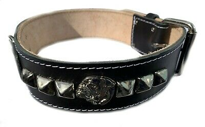 2 Inch Wide Black Leather Dog Collar with Decorative Design and American Bulldog