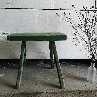 Rustic Hand-Carved Wooden Green Milking Stool or Small Table, Antique Farmhouse