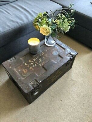 Vintage Metal Army Military Trunk Chest Coffee Table Storage