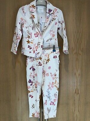 BNWT Next Girls Age 5 Years Floral Ivory Suit Outfit Flowers Trousers & Jacket