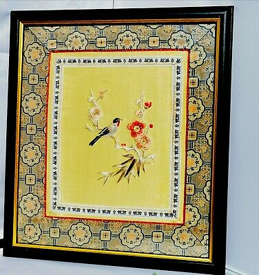 Japanese Chinese Yellow Silk Blosom Bird Silk Embroidery Picture