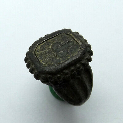 Roman Ancient Artifact Bronze Ring With Phallus