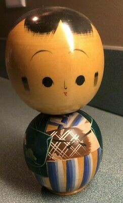 Vintage Japanese Wooden Kokeshi Doll Hand painted very good condition