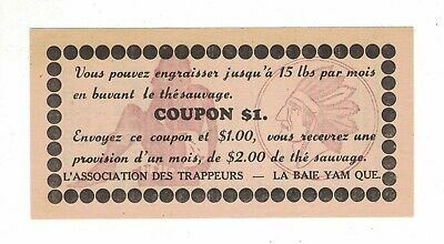 1940, Adv. Indian's Head / $1.00 Coupon By Trapors Association, La Baie, Yamaska