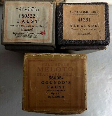 3 x Pianola Piano Rolls 88 note by Gounod