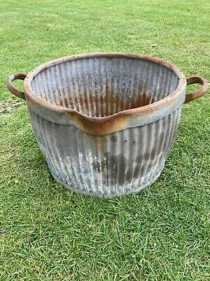Original Vintage Antique Dolly Tub Galvanise Metal Peggy Tub