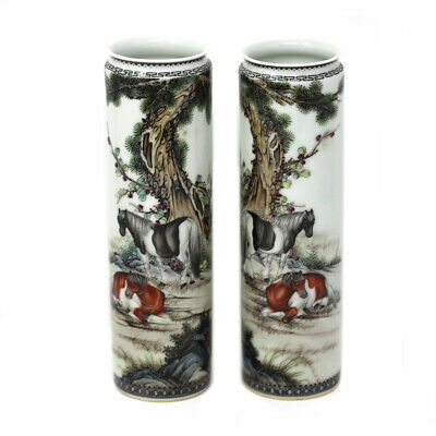 Fine Chinese Porcelain Cylindrical Vase Pair Decorated With Horses Signed