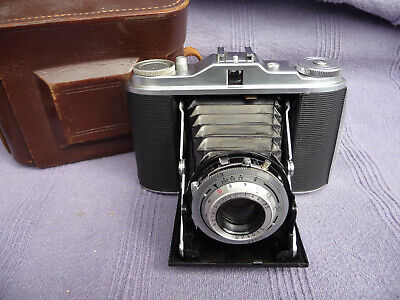 Vintage Agfa Isolette Folding Camera 120 Roll Film With Leather Case
