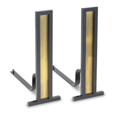 Pilgrim Home and Hearth 18675 Grand Tower Andirons, Antique Brass and Black