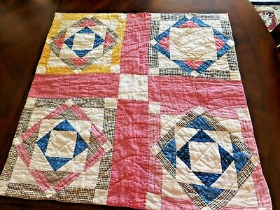 """Antique Doll Quilt or Wall Hanging Hand Pieced & and Quilted  27"""" by 27"""""""