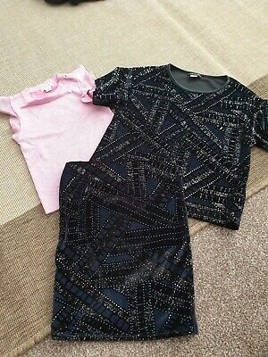 River Island Girls Sparkle Outfit 2 tops age 5-6