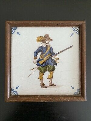 Antique DELFT TILE in Wood Frame, Soldier with Musket and Sword, RARE!