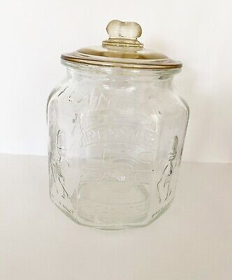 Planters Mr. Peanut 1930's Original PENNANT 5¢ PEANUTS Clear Glass Octagonal Jar