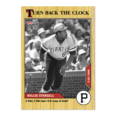 2020 Topps Now Turn Back The Clock #53 Willie Stargell 3 Hr Pittsbugh Pirates