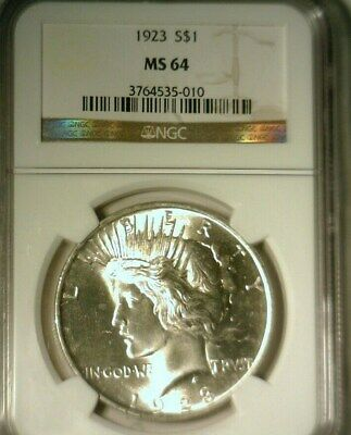 1923  Silver Peace Dollar  Ngc Ms-64   Great Looking Coin!!!
