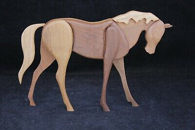 Hand-Crafted Canadian Wood Horse Carving Signed By W. Michael