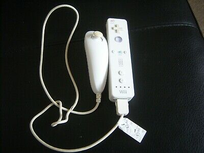 Official Nintendo Wii Remote White With Nunchuck TESTED WORKING Controller PAL