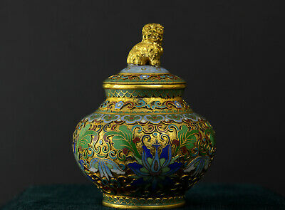 Vintage Chinese Cloisonné Ginger Jar with Foo Dog Bronze Finial - Beautiful!
