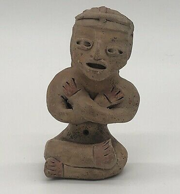 Authentic Mexico Pre-Columbian Pottery Seated Painted Figure
