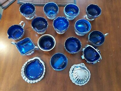 Joblot Of Cobalt blue Glass And Chrome Silver Bowls,jugs,oyster Shell Bowls,16 ×