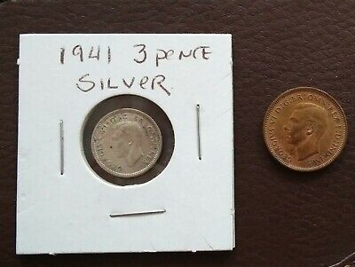 Lot Of Two Old Coins Great Britain Silver 1941 3 Pence 1945 Farthing