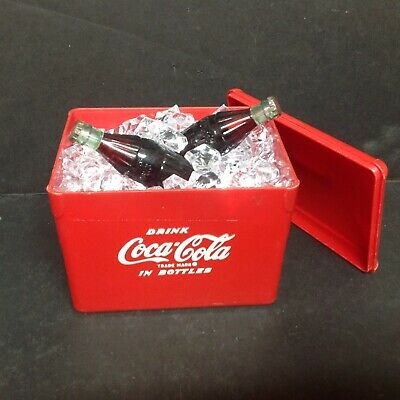 RARE COCA-COLA Mini COOLER w/Bottles on ICE