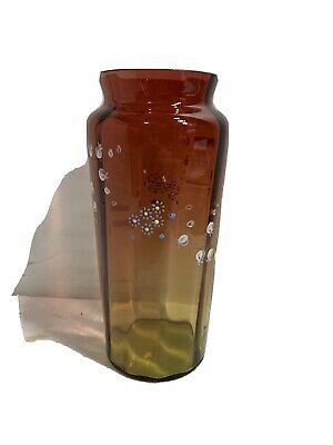 Aber To Red Glass Vase With Enamel Decoration