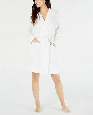 Charter Club Plus Size Knit Terry Cloth Hooded Robe White Size 2X NWT