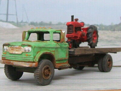 1/87 resin kit - dodge d-500 farmer flat bed truck with farm tractor
