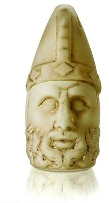 Nemrut Zeus Statues Handmade Cream Opal Glass Tumbled by Using Gold Paints