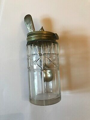 Vintage Glass EPNS Salt Mustard Pot With Spoon