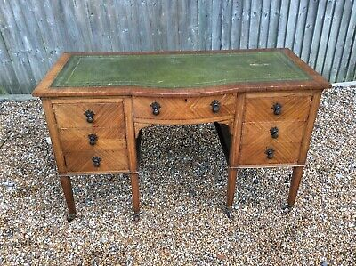 Free Delivery _ Satinwood Inlaid Quality Edwardian Leather Topped Desk.