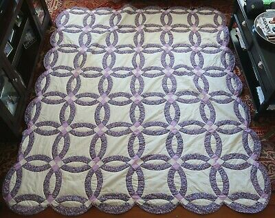"Vintage HAND MADE Purple & White WEDDING RING QUILT - Queen 96"" x 82"" FLORAL"