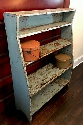 Primitive Blue Painted Bucket Bench Crock Stand 19th Cen. Americana
