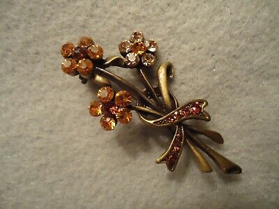Vintage Sparkly Vibrant Yellow champagne Rhinestone Flower Bouquet Brooch Pin