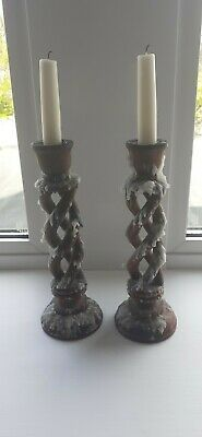 Pair of used wooden Open Barley Twist Candle sticks. 10 inches tall