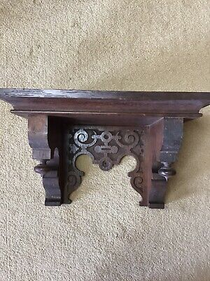 Antique  Victorian Gothic Oak Carved Clock Bracket Wall Shelf C19th