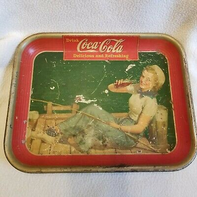 Vintage 1940 Originial Coca Cola Tray Girl Fishing On Dock - Scratched