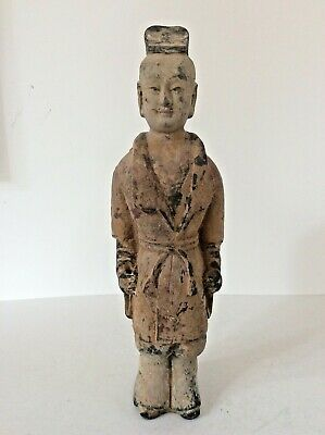 Chinese Tang Dynasty Pottery Male Attendant_ Collector ? Dealers Number To Head?