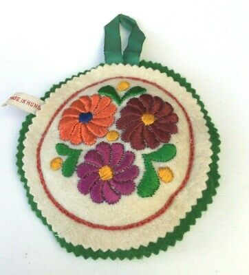 Vintage  Sewing Felt Pin Cushion With Floral Design Made In Hunsary
