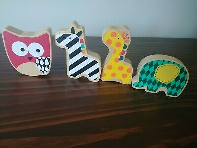 Boutique Baby Nursery Decor - Painted Wooden Animal And Rattle