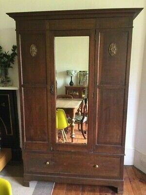 Fabulous Antique Inlaid Mahogany Wardrobe with Drawer and Mirror Door